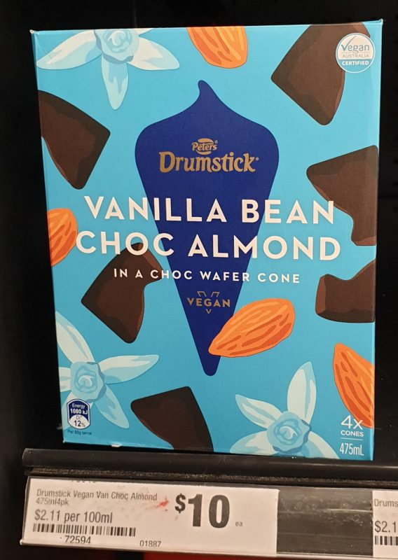 Peters 475mL Drumstick Vegan Vanilla Bean Choc Almond