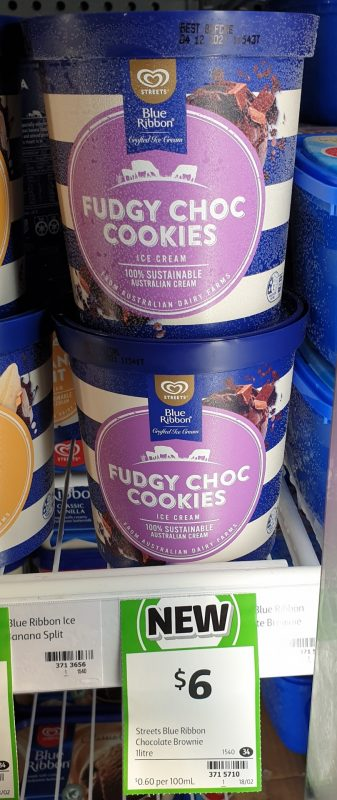 Streets 1L Blue Ribbon Ice Cream Fudgy Choc Cookies