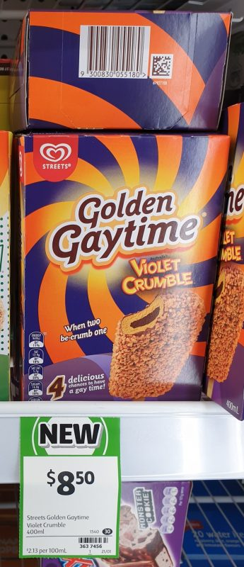 Streets 400mL Golden Gaytime Violet Crumble