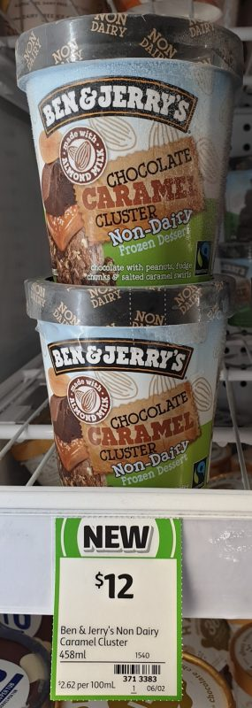 Ben & Jerry's 458mL Non Dairy Frozen Dessert Chocolate Caramel Cluster