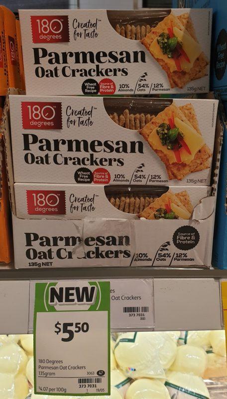 180 Degrees 135g Oat Crackers Parmesan