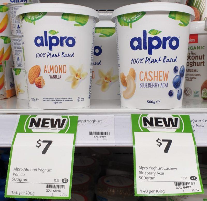 Alpro 500g 100% Plant Based Almond Vanilla, Cashew Blueberry Acai