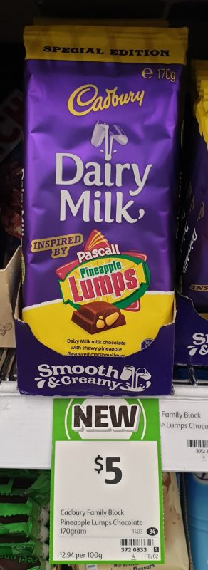 Cadbury 170g Dairy Milk Chocolate Pascall Pineapple Lumps Special Edition