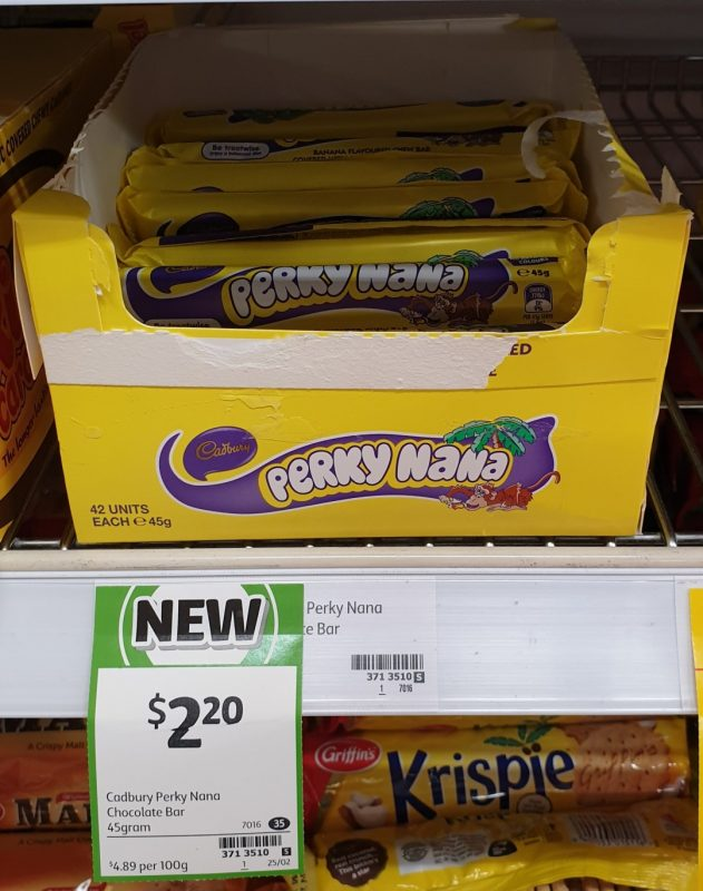 Cadbury 45g Chocolate Bar Perky Nana
