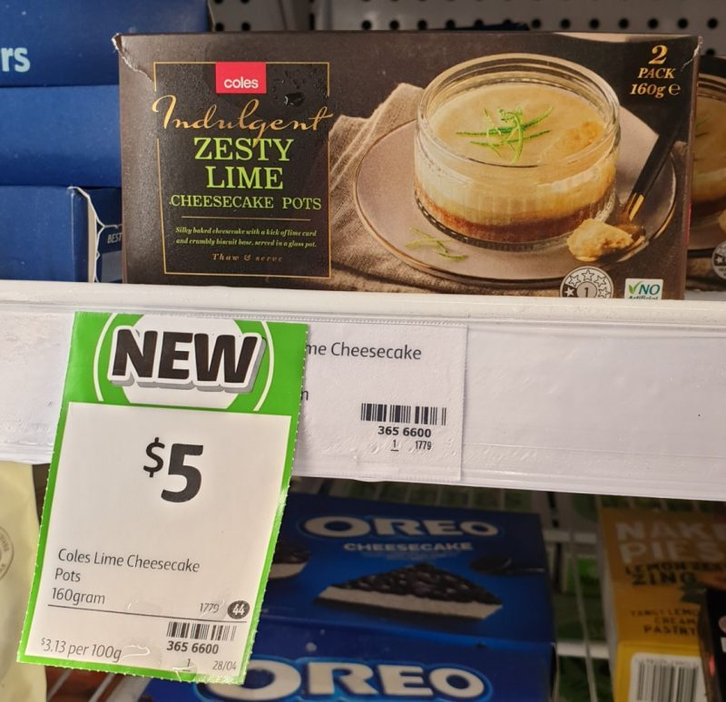 Coles 160g Cheesecake Pots Zesty Lime