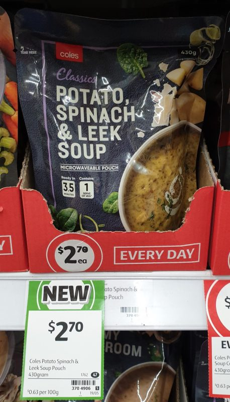 Coles 430g Soup Potato, Spinach & Leek Soup