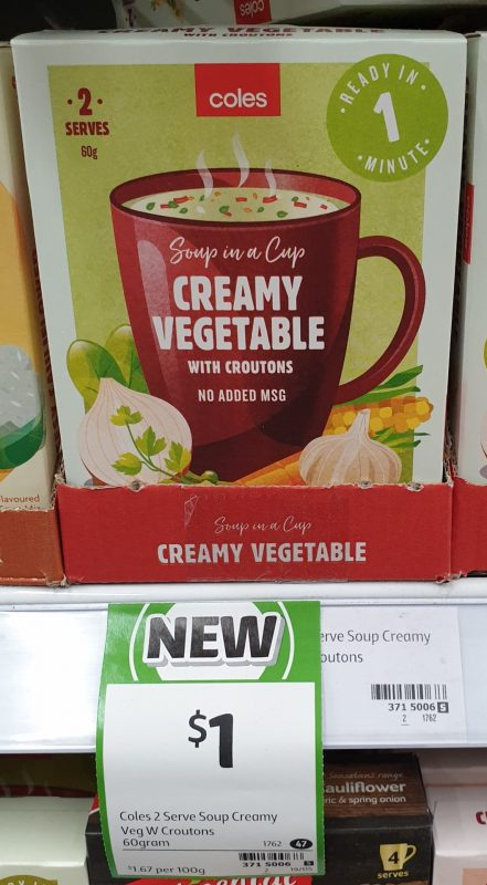 Coles 60g Soup In A Cup Creamy Vegetable With Croutons