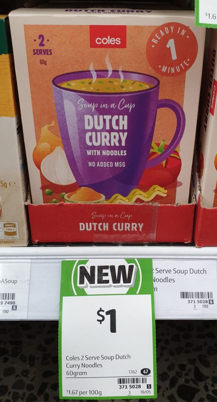 Coles 60g Soup In A Cup Dutch Curry With Noodles