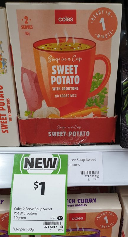 Coles 60g Soup In A Cup Sweet Potato With Croutons