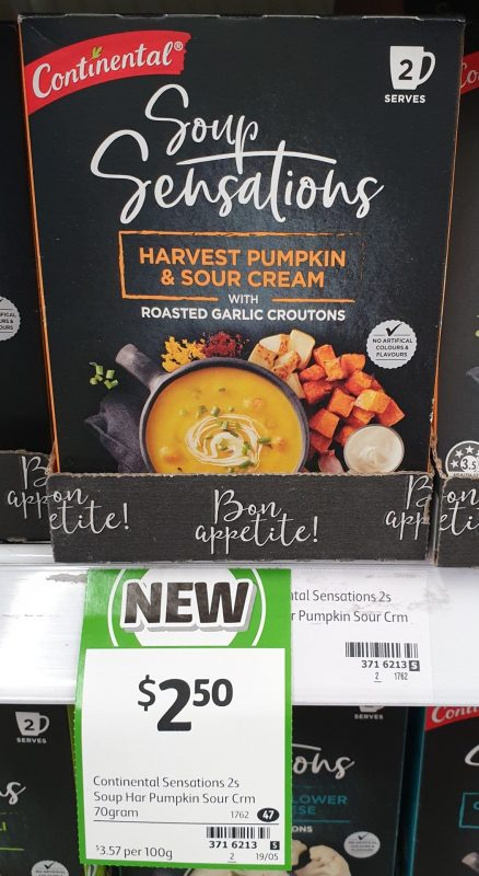 Continental 70g Soup Sensations Harvest Pumpkin & Sour Cream