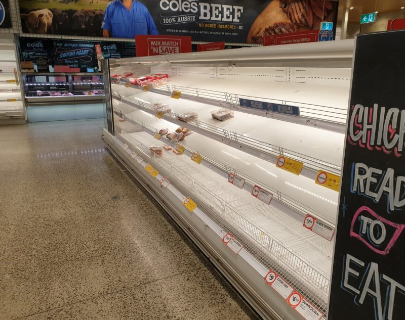 Coronavirus COVID 19 Panic Buy Coles Supermarket Melbourne Chicken Ready To Eat 15th March 2020 1
