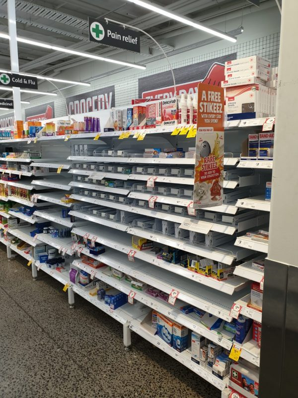 Coronavirus COVID 19 Panic Buy Coles Supermarket Melbourne Cold Flu Pain Relief 15th March 2020 1