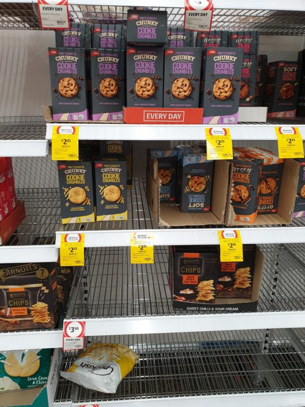 Coronavirus COVID 19 Panic Buy Coles Supermarket Melbourne Coles Chunky Cookie Crumbles 15th March 2020 1