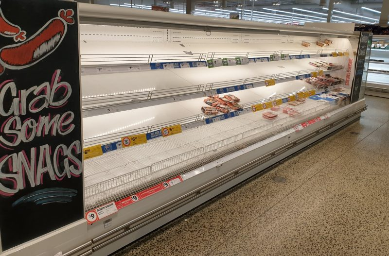Coronavirus COVID 19 Panic Buy Coles Supermarket Melbourne Sausages 15th March 2020 1