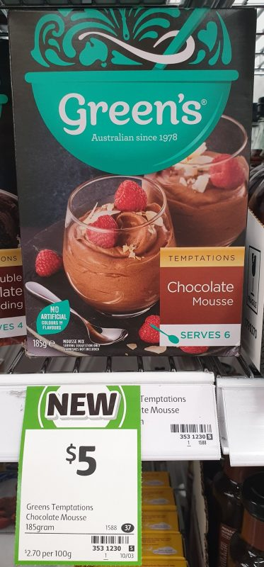 Green's 185g Temptations Chocolate Mousse