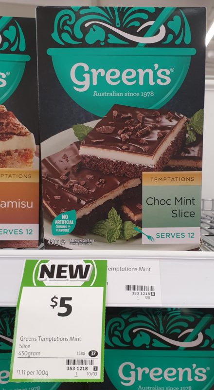Green's 450g Temptations Choc Mint Slice