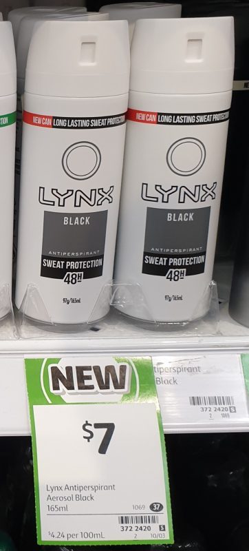 Lynx 165mL Antiperspirant Black
