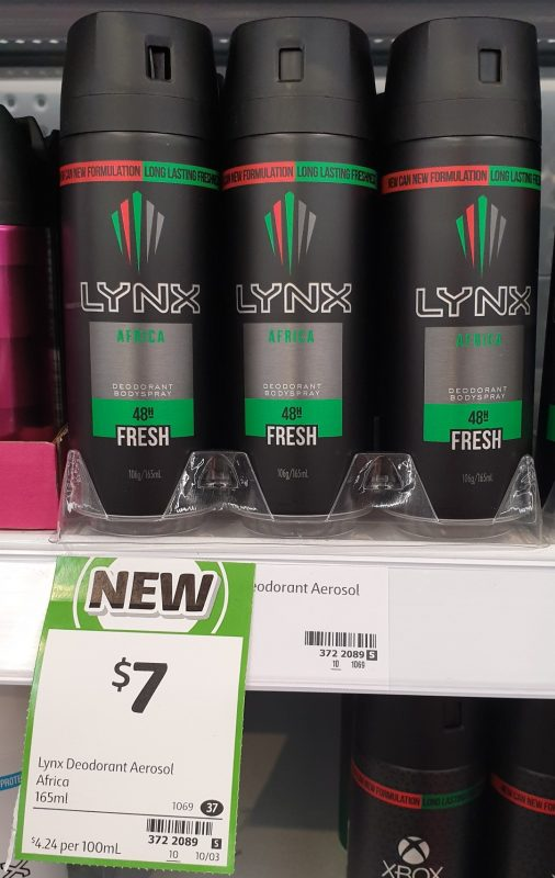 Lynx 165mL Deodorant Bodyspray Fresh Africa