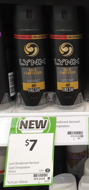 Lynx 165mL Deodorant Bodyspray Fresh Gold Temptation