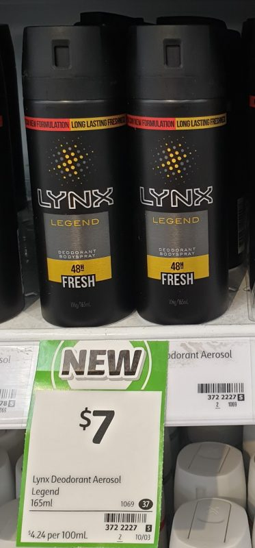 Lynx 165mL Deodorant Bodyspray Fresh Legend