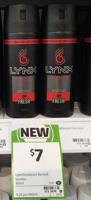 Lynx 165mL Deodorant Bodyspray Fresh Voodoo