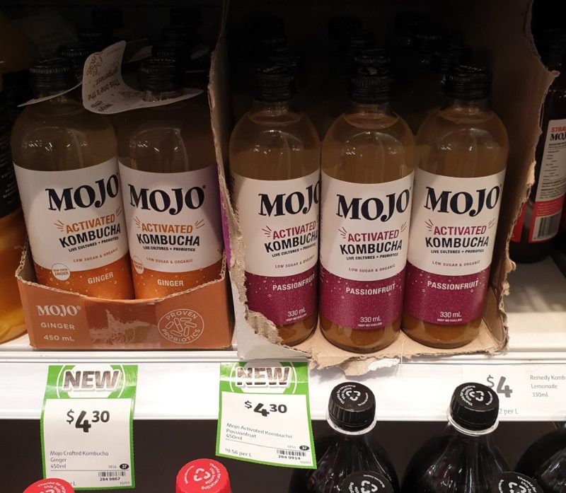 Mojo 450mL Kombucha Activated Ginger, Passionfruit