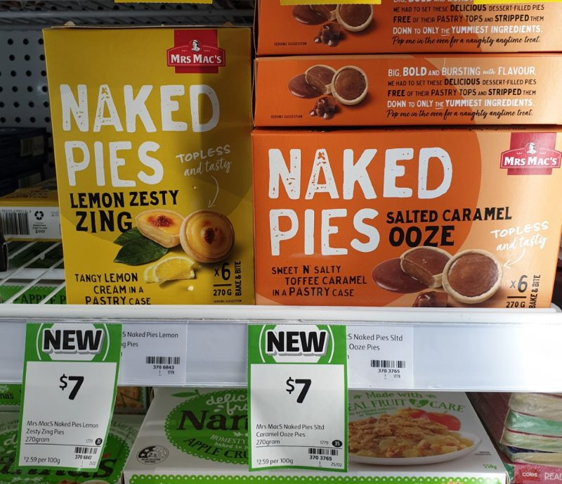 Mrs Mac's 270g Nakes Pies Lemon Zesty Zing, Salted Caramel Ooze