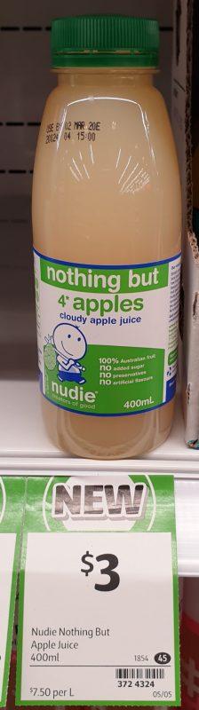 Nudie 400mL Nothing But 4 Apples Cloudy Apple Juice