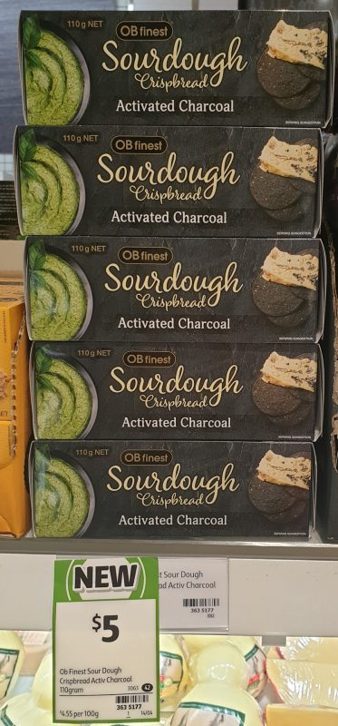 OB Finest 110g Crispbread Sourdough Activated Charcoal