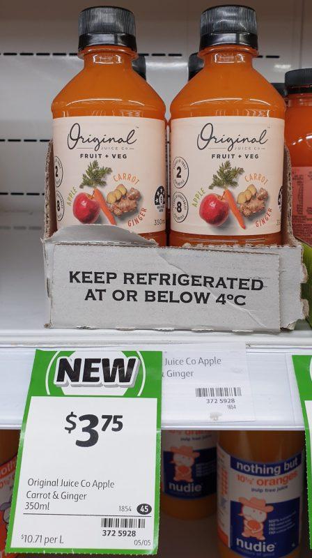 Original Juice Co 350mL Fruit + Veg Carrot & Ginger