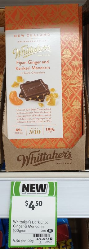 Whittaker's 100g Dark Chocolate Fijian Ginger And Kerikeri Mandarin