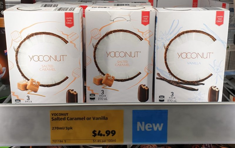 Aldi 270mL Yoconut Frozen Dessert Salted Caramel, Vanilla