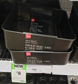 Coles 1 Pack Cook & Dine Cake Tin Deep Square 24cm