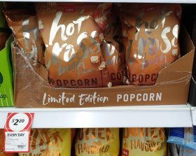 Coles 100g Popcorn Hot Cross Bun Limited Edition