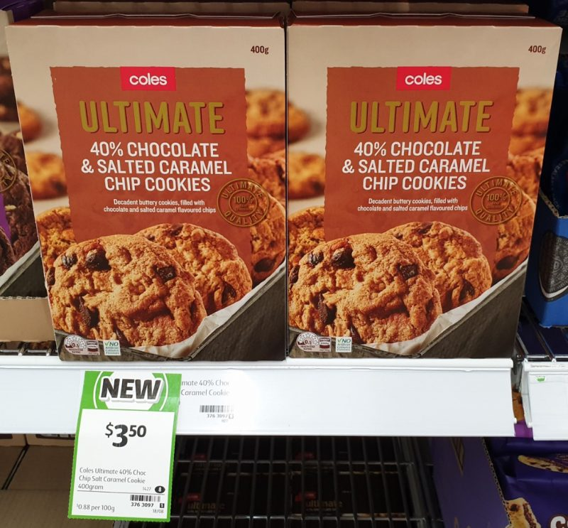 Coles 400g Ultimate 40% Chocolate & Salted Caramel Chip Cookies