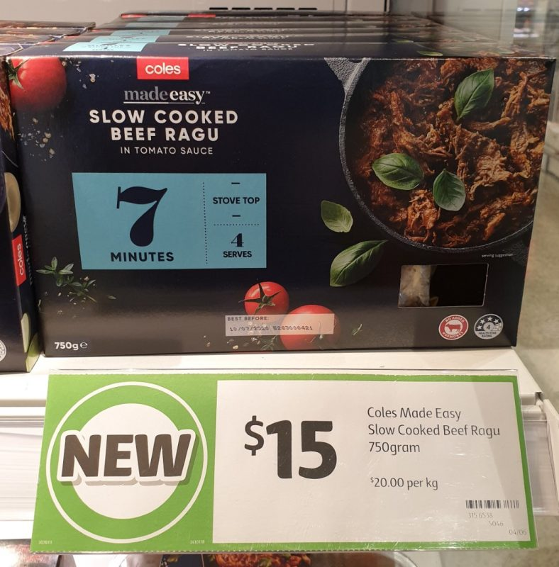 Coles 750g Made Easy Beef Ragu Slow Cooked
