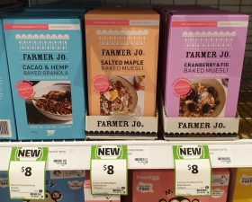 Farmer Jo 350g Baked Granola Cacao & Hemp, Baked Muesli Salted Maple, Cranberry & Fig
