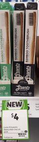 Grants Of Australia 1 Pack Toothbrush Bamboo Charcoal Ultra Soft