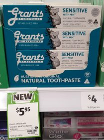 Grants Of Australia 100g Toothpaste Natural Sensitive With Mint