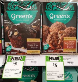 Green's 600g Temptations Muffin Mix Jumbo Triple Choc, Apple Walnut & Sultana