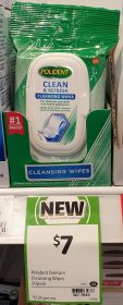 Polident 20 Pack Cleansing Wipes Clean & Refresh