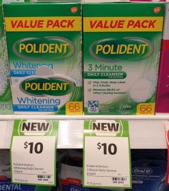 Polident 66 Pack Daily Cleanser Dentures Whitening, 3 Minute