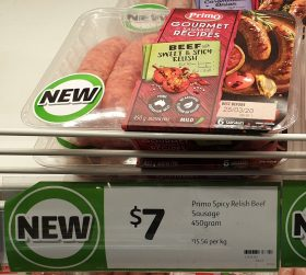 Primo 450g Sausages Beef With Sweet & Spicy Relish