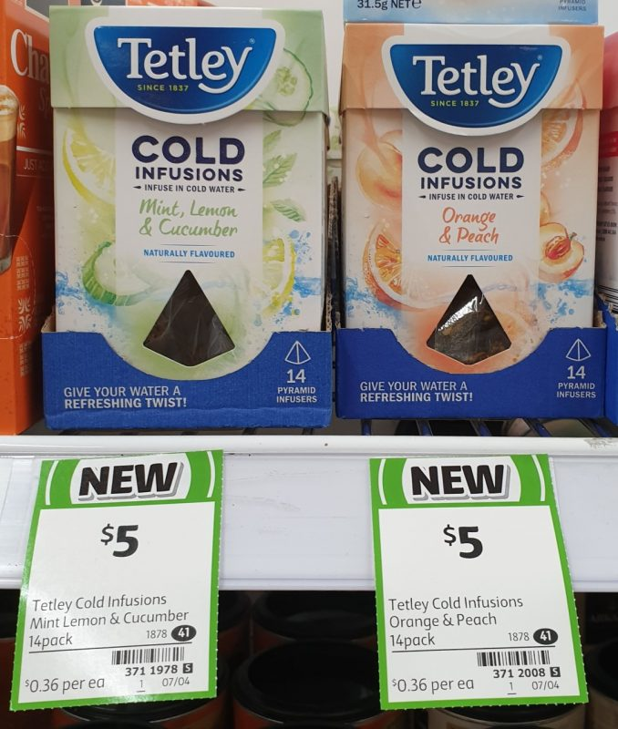Tetely 14 Pack Cold Infusions Mint Lemon & Cucumber, Orange & Peach