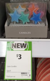 Coles 5 Pack Candles
