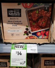 Coles 500g Kitchen Greek Inspired Pork Slow Cooked