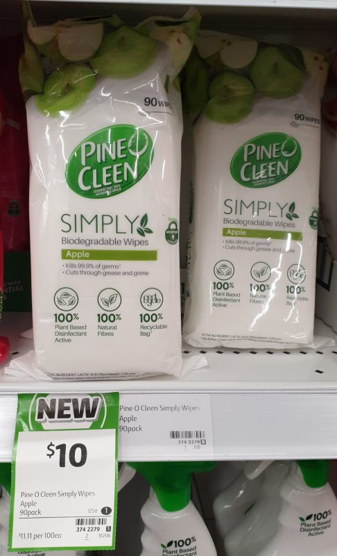 Pine O Cleen 90 Pack Simply Biodegradable Wipes Apple