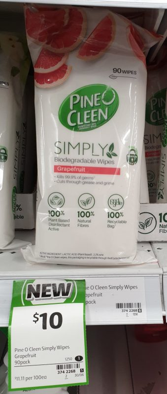 Pine O Cleen 90 Pack Simply Biodegradable Wipes Grapefruit