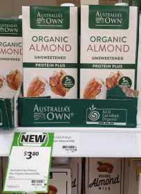 Australias Own 1L Almond Milk Organic Unsweetened Protein Plus