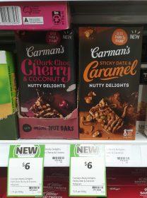 Carman's 160g Nutty Delights Dark Choc Cherry & Coconut, Sticky Date & Caramel
